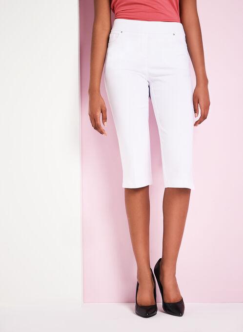 Modern Fit Straight Leg Capris, White, hi-res