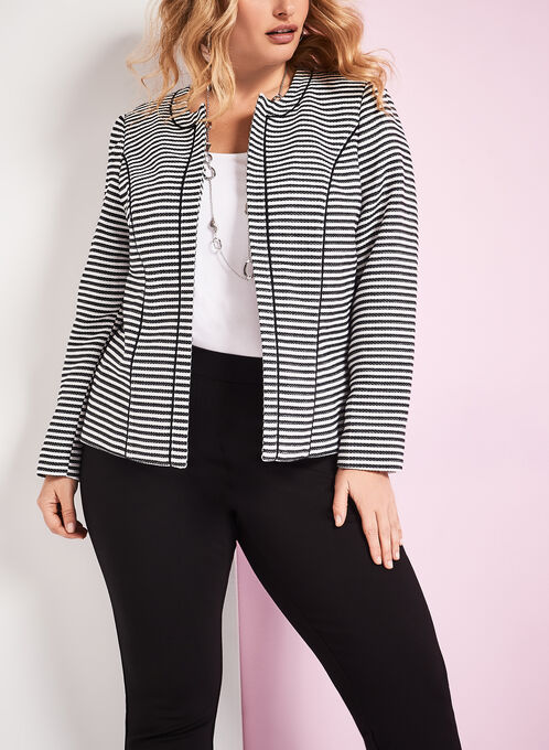Stripe Print Open Front Jacket, Blue, hi-res