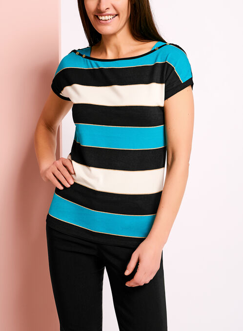 Stripe Print Button Trim T-Shirt, Blue, hi-res