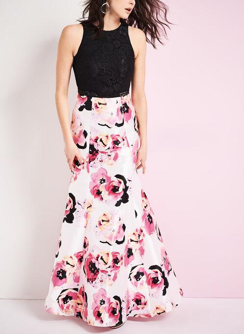 Lace & Floral Print Mermaid Gown, Black, hi-res