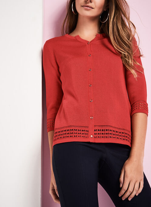 Button-Down Pointelle Border Cardigan, Red, hi-res