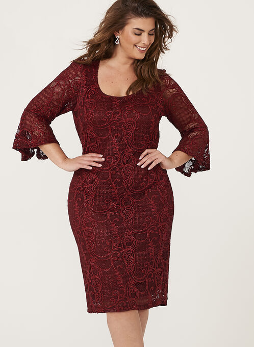 Glitter Bell Sleeve Lace Dress, Red, hi-res