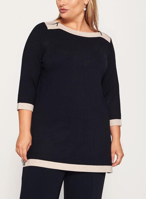 3/4 Sleeve Zipper Trim Knit Tunic Sweater , Black, hi-res