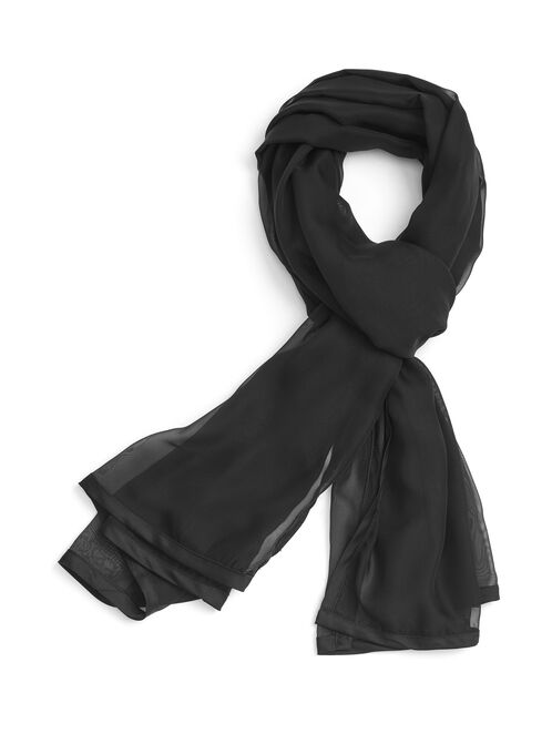 Rib Knit Scarf , Black, hi-res