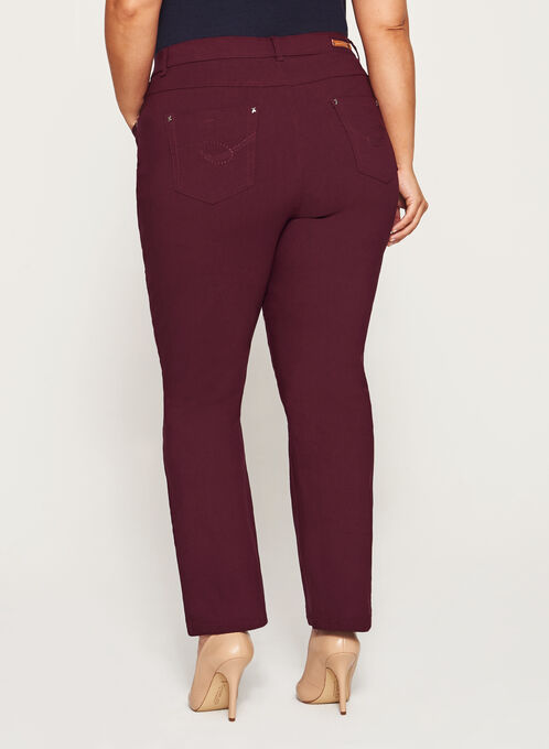Simon Chang - Signature Fit Embroidered Straight Leg Pants, Red, hi-res