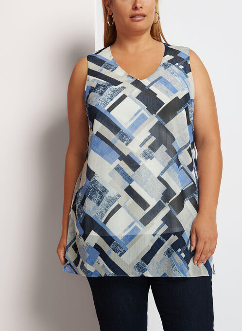 Sleeveless Geometric Print Tunic, Blue, hi-res