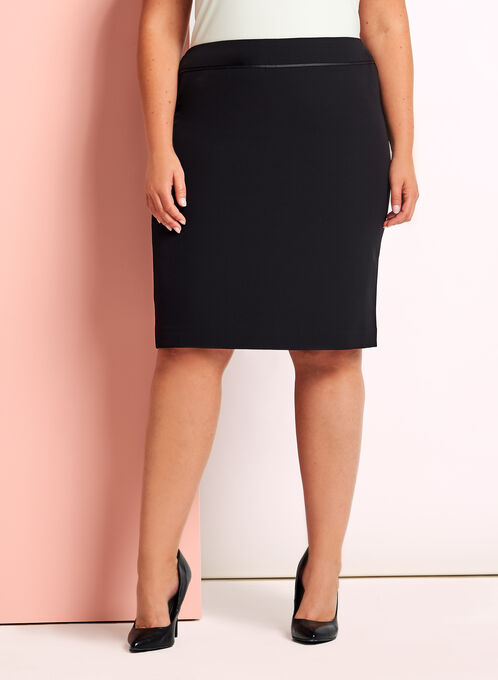 Short Pencil Skirt, Black, hi-res