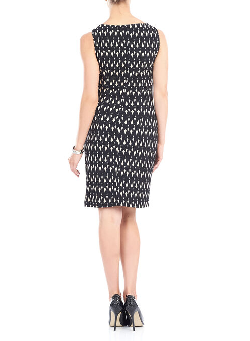 Diamond Print Sash Detail Dress, Black, hi-res