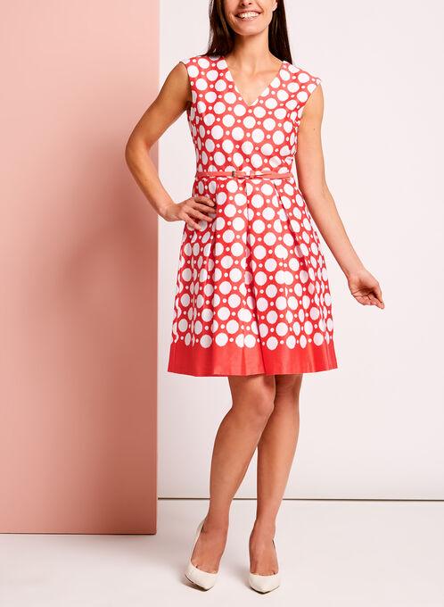 Dot Print Belted Sateen Fit & Flare Dresss, Orange, hi-res