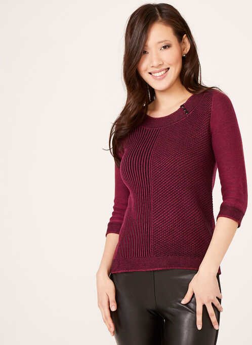 3/4 Sleeve Scoop Neck Sweater, Red, hi-res