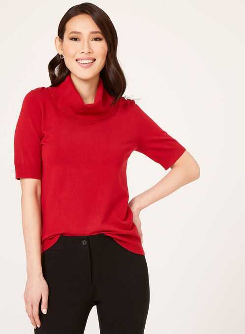 Cowl Neck Short Sleeve Sweater , Red, hi-res