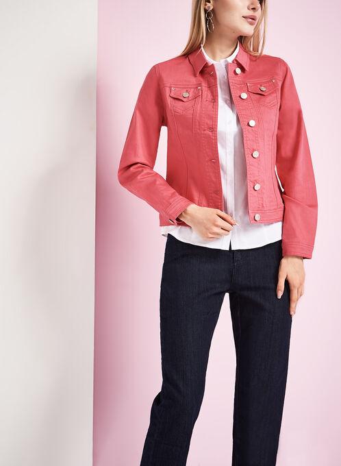 Solid Denim Jacket, Pink, hi-res