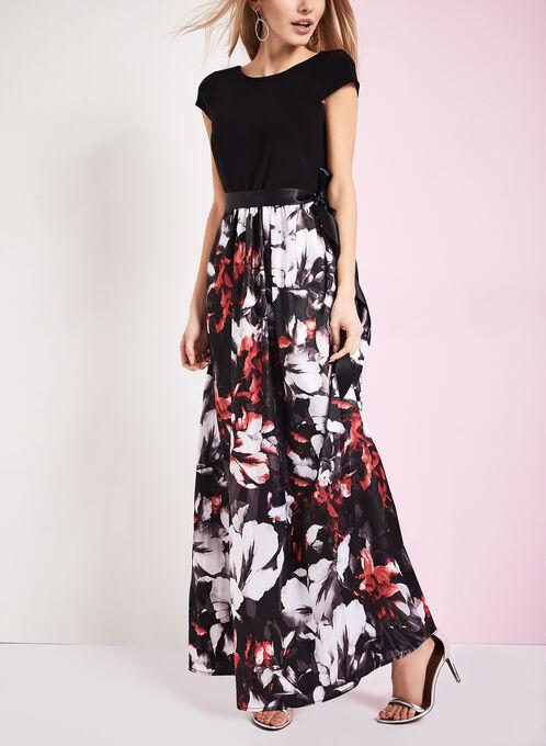 Scoop Neck Floral Print Dress, Black, hi-res