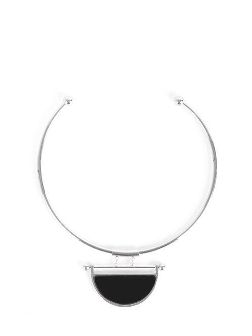 Open Collar Half Moon Necklace, Black, hi-res
