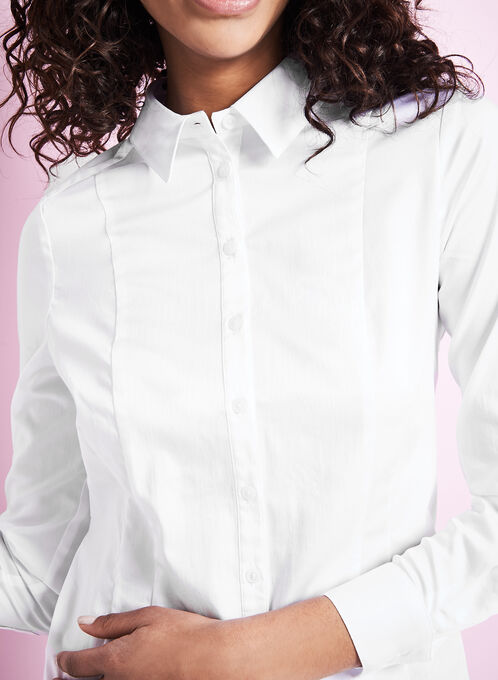 Long Sleeve Button-Down Shirt, White, hi-res