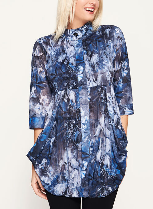 3/4 Sleeve Floral Print Tunic Blouse, Blue, hi-res