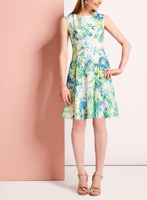 Lace Floral Print Fit & Flare Dress, Green, hi-res