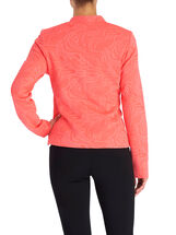 Jacquard Zipper Trim Jacket, Orange, hi-res