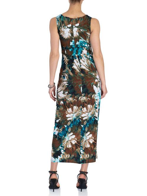 Sleeveless Medallion Trim Maxi Dress, Brown, hi-res