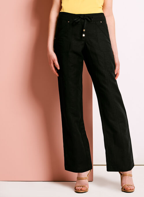 Modern Fit Straight Leg Linen Pants, Black, hi-res