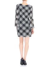 Plaid Mesh Bell Sleeve Dress, Black, hi-res