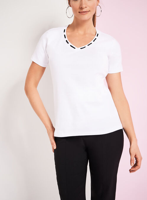 Lace & Grommet Trim T-Shirt, White, hi-res