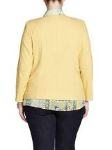 Jacquard Zipper Trim Jacket, Yellow, hi-res