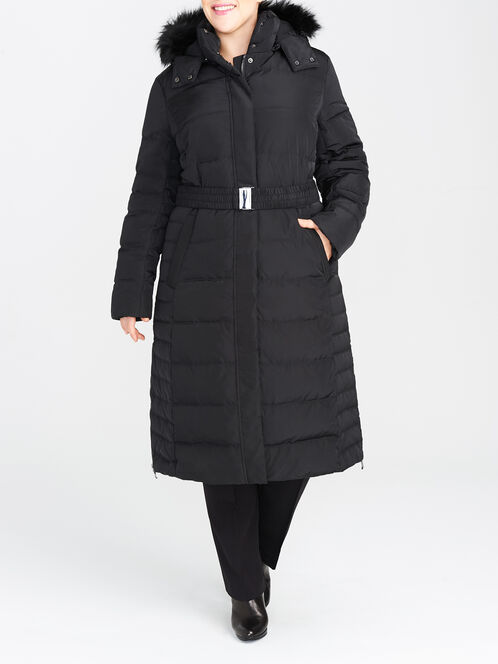 Detchable Hood Belted Down-Filled Coat, Black, hi-res