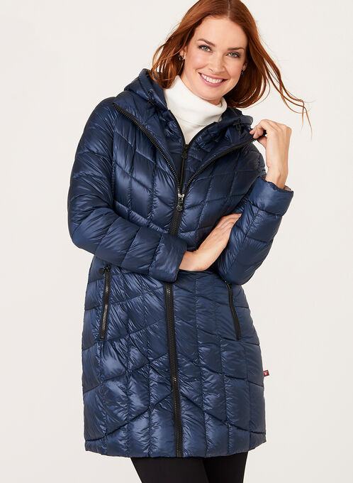 B by Bernardo - PrimaLoft® Down Filled Packable Coat, Blue, hi-res