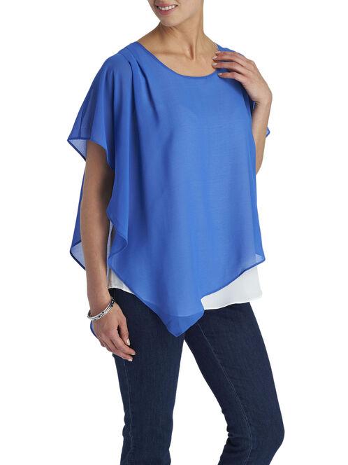 Chiffon Asymmetrical Poncho Blouse, Blue, hi-res