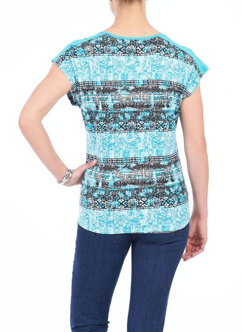 Short Sleeve Zipper Trim Top, Blue, hi-res
