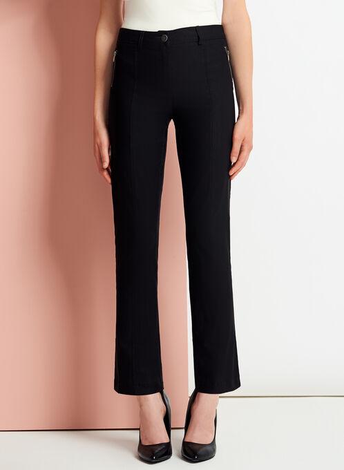 Modern Fit Straight Leg 7/8 Pants, Black, hi-res
