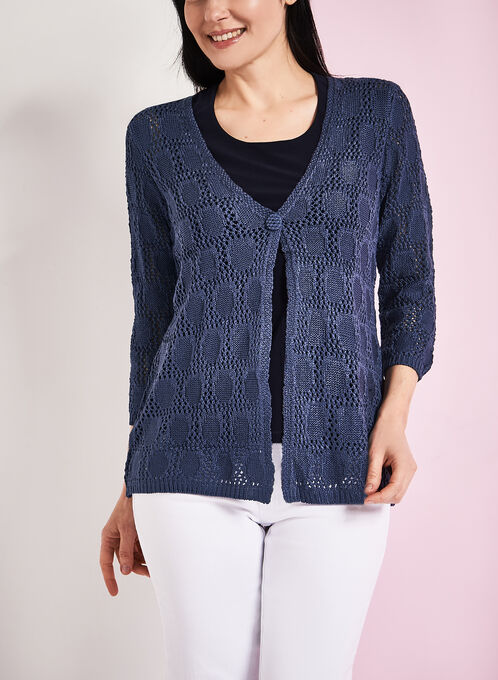 3/4 Sleeve Crochet Cardigan, Blue, hi-res