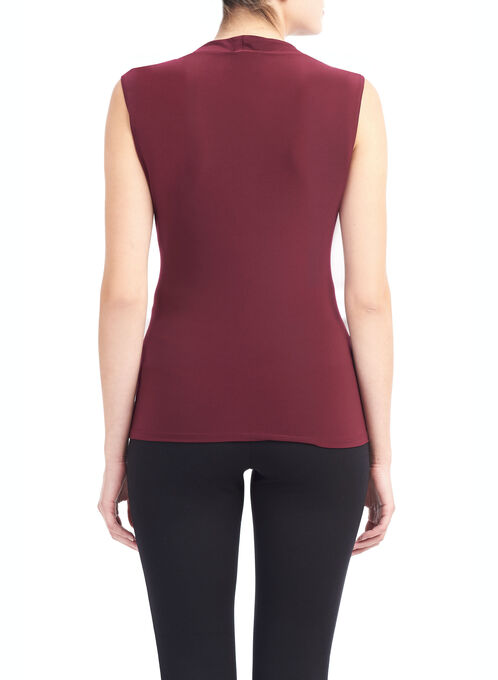 Sleeveless Horseshoe Neck Top, Red, hi-res