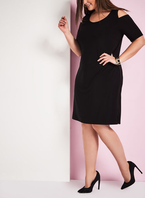 Frank Lyman Cold Shoulder Dress, Black, hi-res