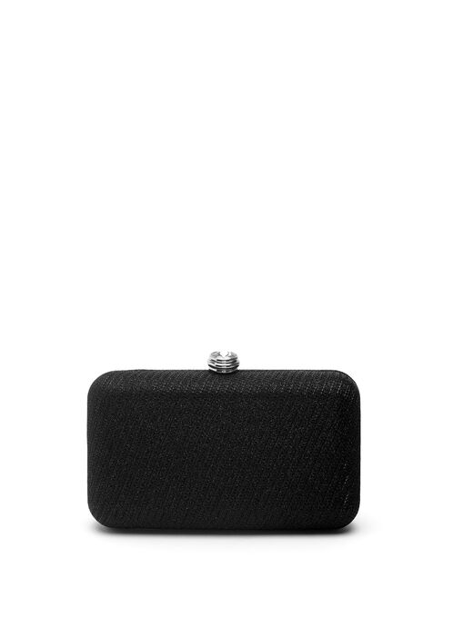 Stone Closure Box Clutch, Black, hi-res