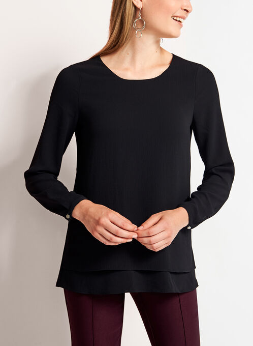 Long Sleeve Double Layer Chiffon Blouse, Black, hi-res