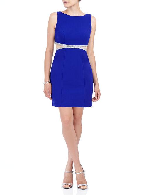 Sleeveless Rhinestone Mesh Dress, Blue, hi-res