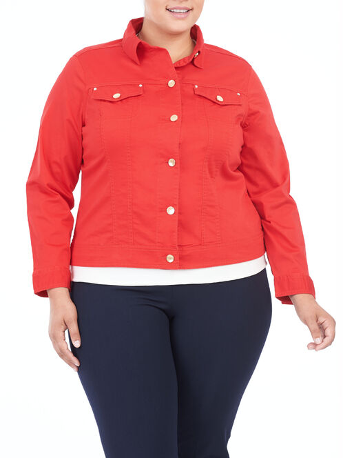 Cotton Sateen Notch Collar Jacket, Red, hi-res