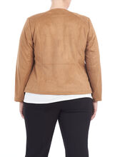 Faux Suede Cord Detail Jacket, Brown, hi-res