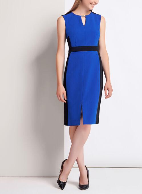 Sleeveless Colour Block Keyhole Dress, Blue, hi-res
