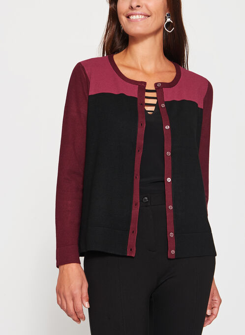 Colour Block Pointelle Yoke Cardigan, Red, hi-res