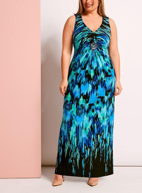 Abstract Print Medallion Trim Maxi Dress, Blue, hi-res