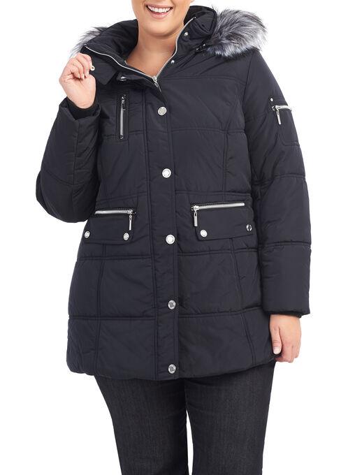 Novelti Faux Fur Polyfill Coat , Black, hi-res