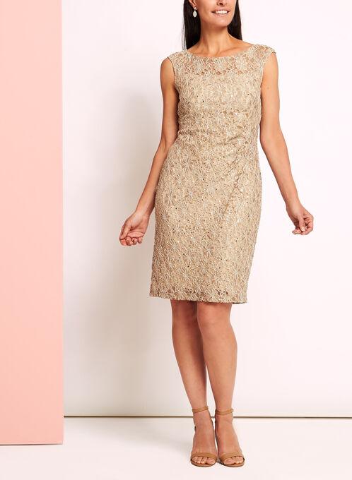 Sequin Lace Sunburst Pleated Dress, Off White, hi-res