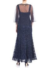 Chiffon Overlay Soutache Gown , Blue, hi-res
