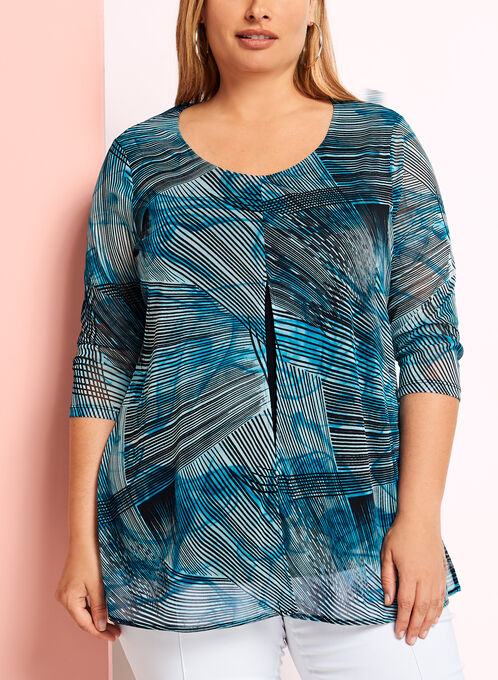 Graphic Print Capelet Mesh Top, Blue, hi-res