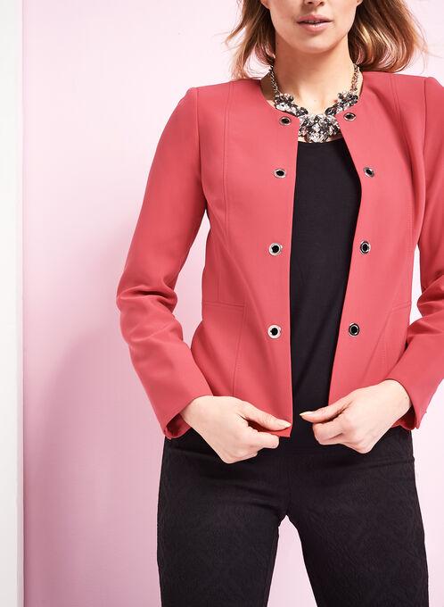 Open Front Grommet Jacket, Red, hi-res