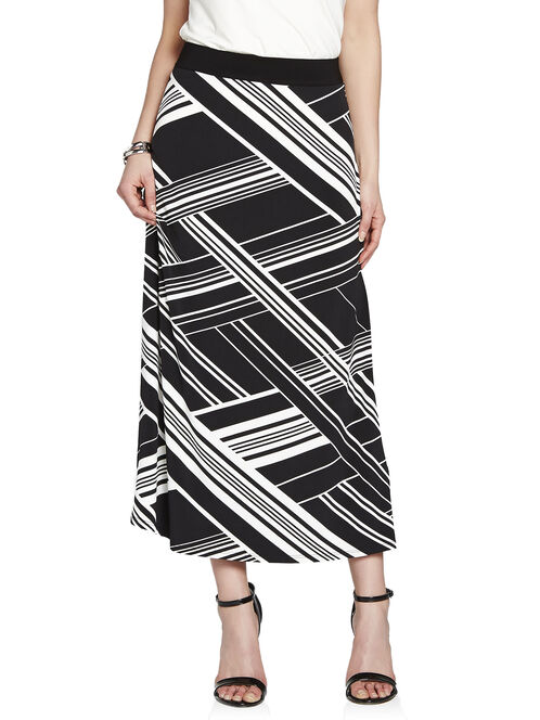 Broken Stripe Maxi Skirt, Black, hi-res