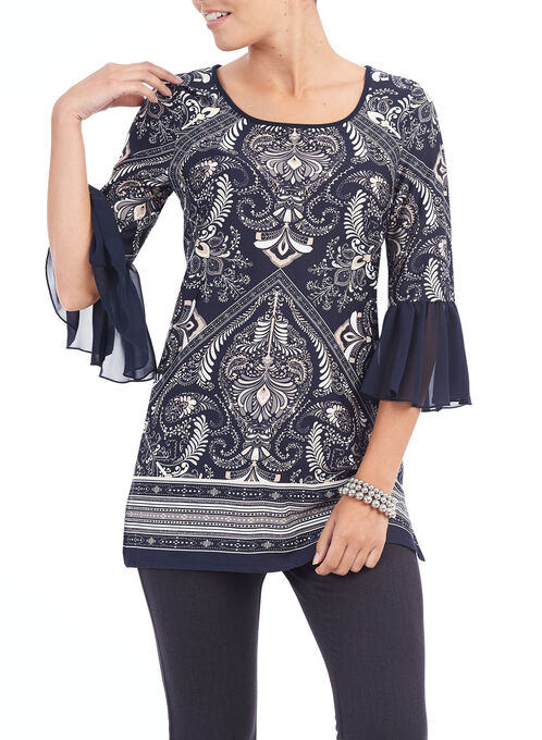 3/4 Sleeve Printed Tunic Top, Blue, hi-res